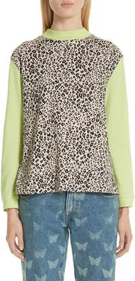 Sandy Liang Lewis Leopard & Neon Sweater
