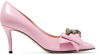 Gucci Queen Margaret Embellished Leather Pumps - Baby pink