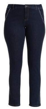 Marina Rinaldi Marina Rinaldi, Plus Size Marina Rinaldi, Plus Size Women's Marina Sport Idioma Studded Slim Fit Jeans - Dark Navy - Size 20W