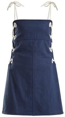 Staud - Raft Linen Blend Mini Dress - Womens - Blue