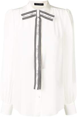 Dolce & Gabbana front logo bow blouse