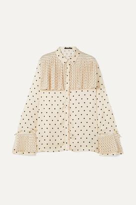 Mother of Pearl Jasper Pleated Polka-dot Satin Shirt - Ivory