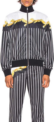 Versace Sport Track Jacket in Black & White & Gold | FWRD