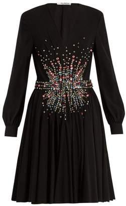 Miu Miu Plunging Embellished Silk Mini Dress - Womens - Black Multi