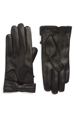 Kate Spade Self Knot Bow Leather Gloves