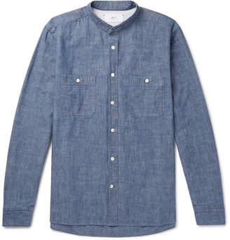 Mr P. Grandad-Collar Selvedge Cotton-Chambray Shirt
