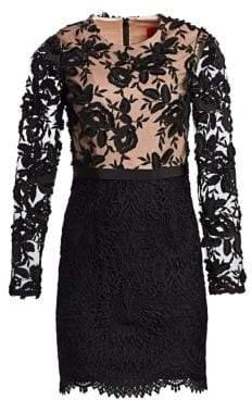 ML Monique Lhuillier Women's Lace Cocktail Dress - Ivory Nude - Size 12
