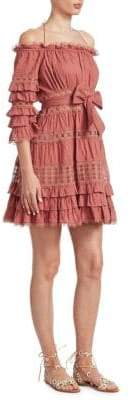 Zimmermann Women's Corsair Off-The-Shoulder Mini Dress - Vintage Rose - Size 3 (8-10)