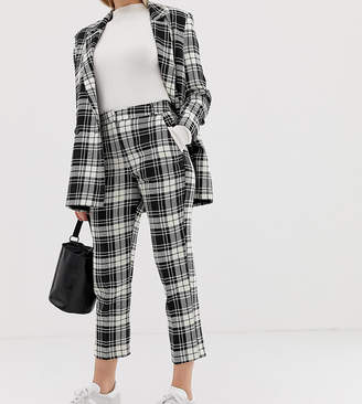 Asos DESIGN Petite slim cigarette suit pants in mono check