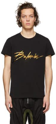 Balmain Black Metallic Signature Logo T-Shirt
