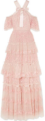 Needle & Thread Primrose Cold-shoulder Tiered Embroidered Tulle Gown - Blush