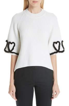 Fendi Scribble Heart Sweater with Genuine Mink Fur Trim