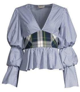 Petersyn Women's Randi Plaid Peplum Top - Cadet Galaway - Size Medium