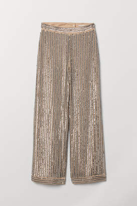 H&M Wide-leg Pants with Sequins - Silver
