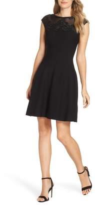 Eliza J Lace Trim A-Line Sweater Dress