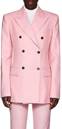 Calvin Klein Women's Checked Wool Double-Breasted Blazer - Pink