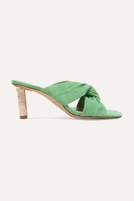 Jacquemus Bellagio Twisted Suede Mules - Green