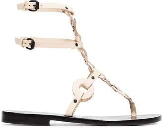 Álvaro off white Andorra flat leather sandals