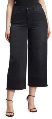 Marina Rinaldi Ashley Graham x Ashley Graham x Women's Ashley Graham X Crop Wide Leg Jeans - Black - Size 16W
