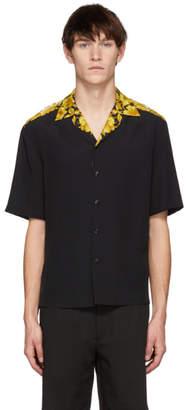 Versace Black Brocade Printed Bowling Shirt