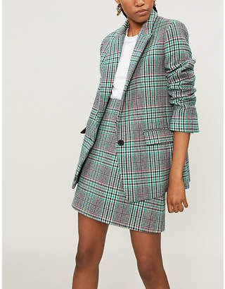 Sandro Tartan check wool-blend jacket