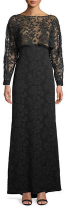 Tadashi Shoji Embroidered Lace & Crepe Popover Gown