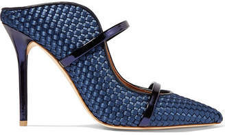Malone Souliers Maureen Metallic Leather-trimmed Woven Satin Mules - Navy
