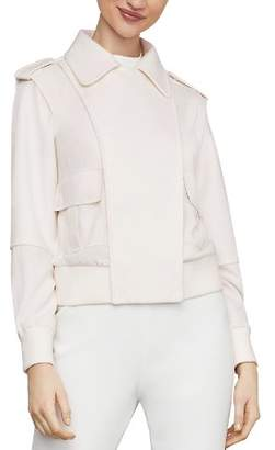 BCBGMAXAZRIA Mixed Media Bomber Jacket