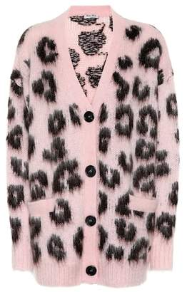 Miu Miu Mohair-blend leopard cardigan
