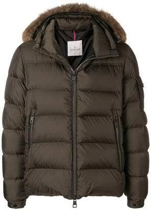 Moncler padded fur trim coat