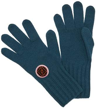 Fendi logo patch knitted gloves
