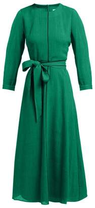 Cefinn - Tie Waist Voile Midi Dress - Womens - Green