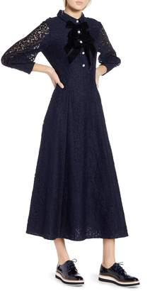 Halogen x Atlantic-Pacific Bow Detail Lace Midi Dress
