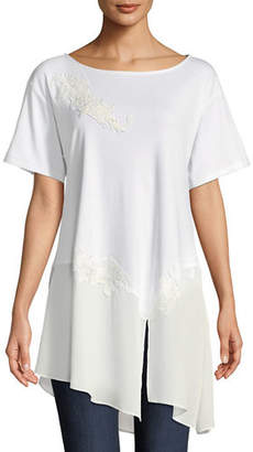 Joan Vass Chiffon-Trim Floral-Applique Tunic