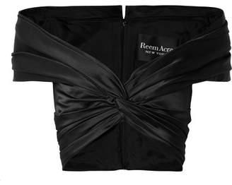 Reem Acra - Off-the-shoulder Knotted Silk-satin Top - Black
