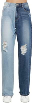Sjyp Distressed Two Tone Wide Leg Denim Jeans