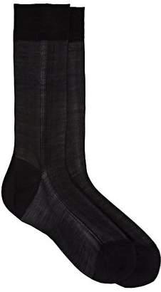 Barneys New York Men's Silk Mid-Calf Socks - Black
