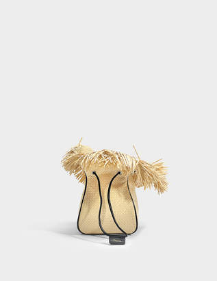 3.1 Phillip Lim Ray Mini Glove Pouch Bag in Natural Woven Straw Fabric
