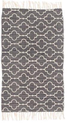 27x45 Arabesque Tile Printed Chindi Fringe Rug
