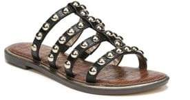 Sam Edelman Women's Glen Studded Leather Slides - Black - Size 6 Sandals