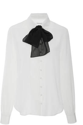 Frame Pussy-Bow Silk Crepe De Chine Blouse