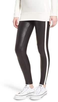 Spanx R) Side Stripe Faux Leather Leggings