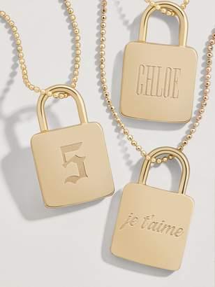 BaubleBar Engravable Lock Pendant Necklace