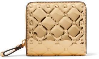 Valentino Garavani The Rockstud Spike Embossed Mirrored-leather Wallet - Gold