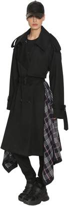 Juun.J Wool Cloth & Plaid Trench Coat