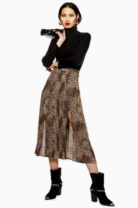 Topshop TALL Leopard Midi Pleat Skirt