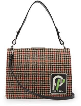 Prada Frame Logo Patch Houndstooth Bag - Womens - Black Multi