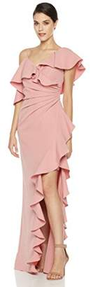 Social Graces Women's Asymmetrical Shoulder Waterfall Ruffle Evening Gown 6