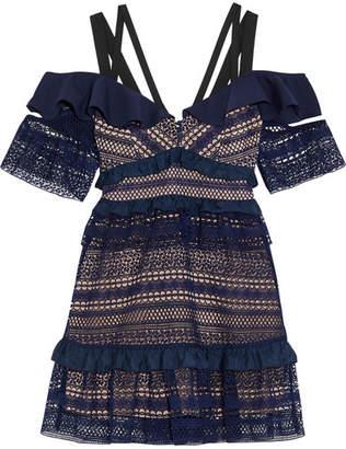 Self-Portrait Cold-shoulder Ruffled Guipure Lace Mini Dress - Navy