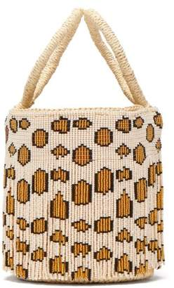 Sensi Studio - Mini Leopard Print Beaded Fringe Bucket Bag - Womens - Leopard
